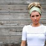 Pre-Tied Bandana/Headband-Solid Sage Green-Womens/Teens