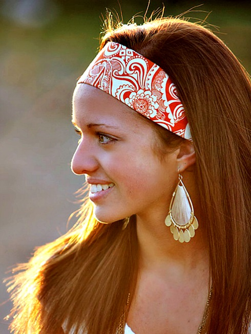 Wide Yoga Headband, Womens/Teens Bandana, Hippie Hairband- Orange Tribal