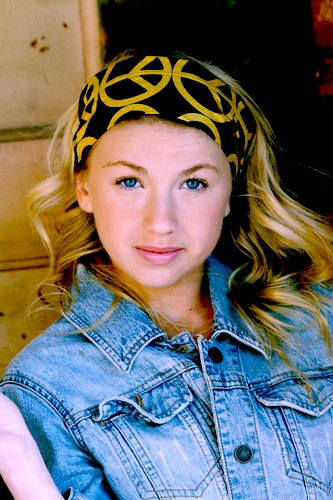Wide Stretch Womens/Teens Headband, Workout Hairband, Peace Sign Bandana- Big Gold Peace Signs