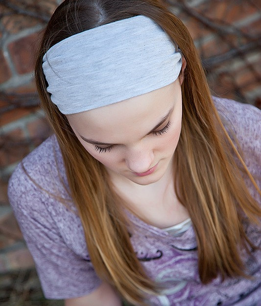Super Soft Knit Headband, Wide Stretch Headband,Yoga Bandana, Workout Headwrap - Silver