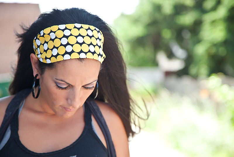 Pre-Tied Bandana, Headband-Yellow & Black, Retro Circles-Womens/Teens