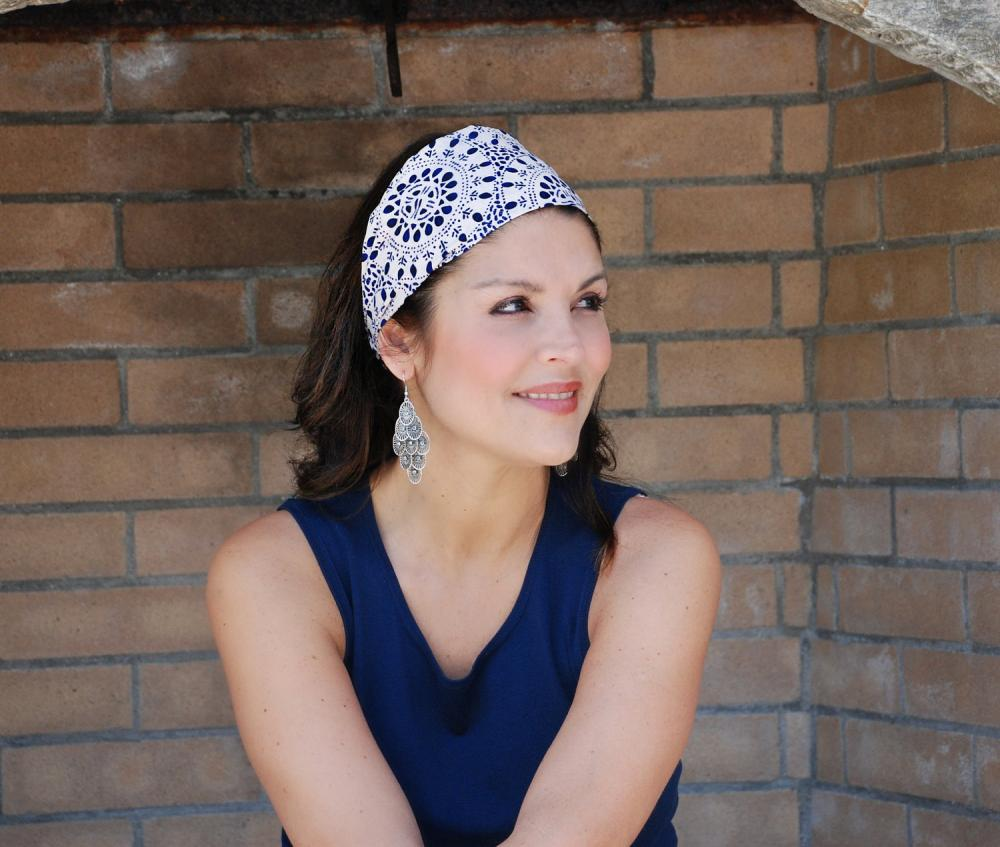 Wide Womens/Teens Stretch Headband- Navy Wheels