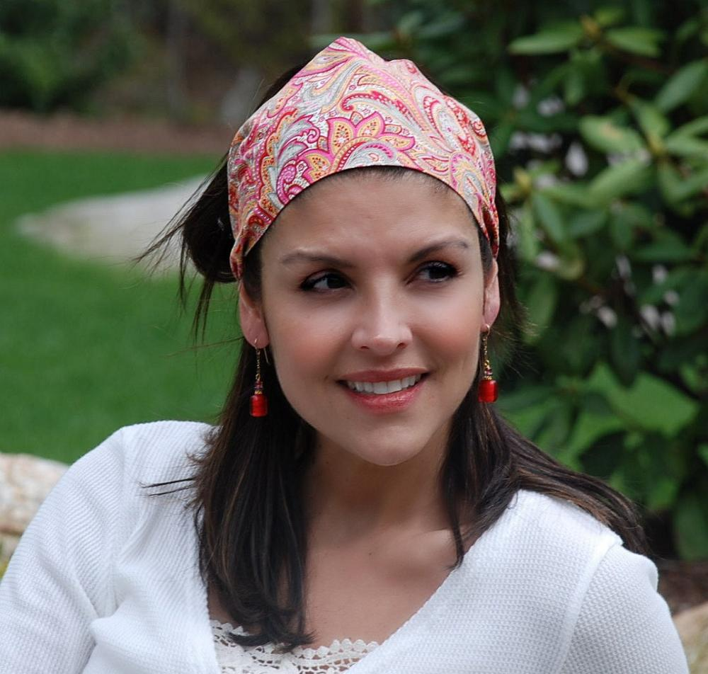 Wide Womens/Teen Stretch Headband, Bright Hairband, Fun Bandana- Popping Orange Paisley