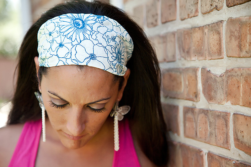 Wide Stretch Womens/Teens Headband- Stenciled Cobalt Blue Flowers