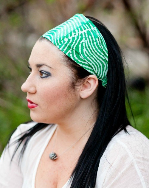 Green Headband, Spring Hairband, Womens/Teens Bandana- Sea Green Batik