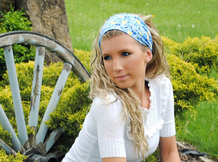 Wide Stretch Womens/Teens Headband, Spring Bandana- Yellow and Blue Flowers