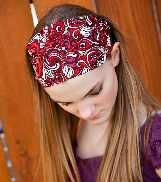 Wide Stretch Womens/Teens Headband, Maroon Paisley Hairband, Stylish Bandana, Red and White Swirl