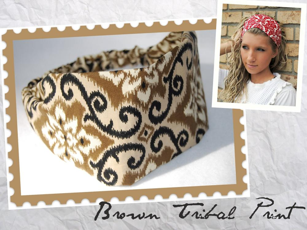 Wide Womens/Teens Stretch Headband, Workout Hairband, Bandana- Brown Tribal Print