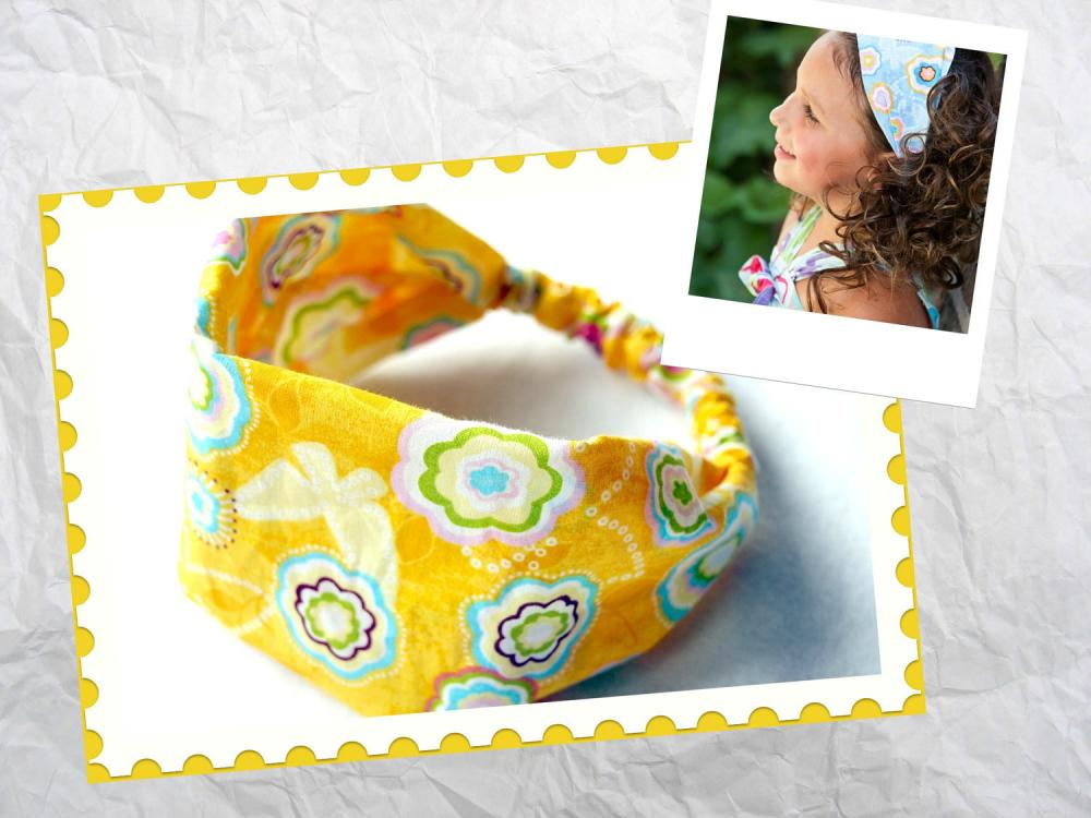 Girls Wide Stretch Headband- Yellow Fun Flowers