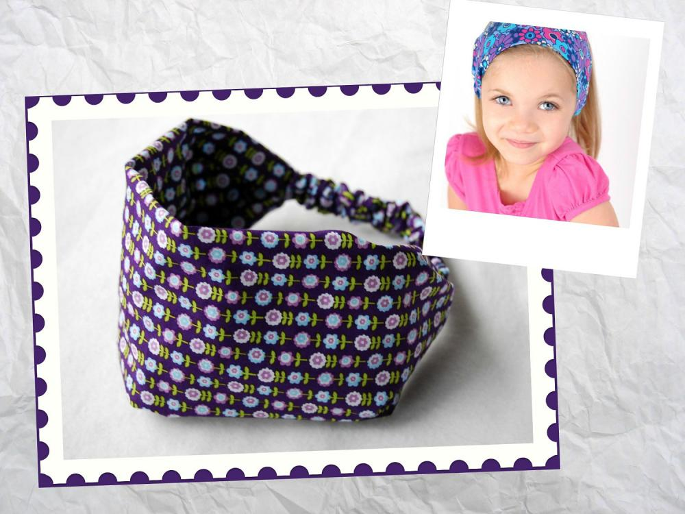 Girls Wide Stretch Headband- Purple Garden