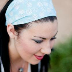 Pale Blue Swirls Headband, Womens/Teens Hairband, Yoga Bandana