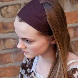 Super Soft Knit Headband, Wide Stretch Hairband, Yoga Bandana- Brown