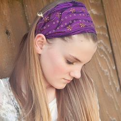 Wide Stretch Womens/Teens Headband, Purple and Gold Hairband, Stylish Bandana- Purple with Gold Flowers