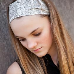 Wide Stretch Womens/Teens Headband, B&W Paisley Hairband, Stylish Bandana, Black and White Paisley